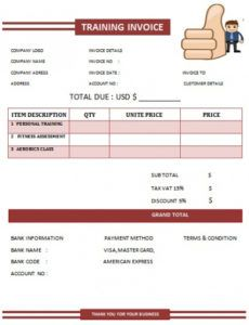 30 personal training invoice templates for professionals - demplates fitness instructor invoice template