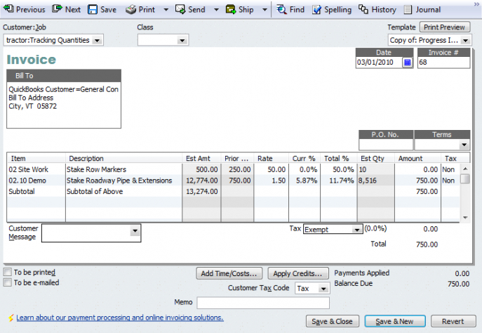 An Introduction To Progress Invoicing Quickbooks For Contractors - Quickbooks invoice subtotal