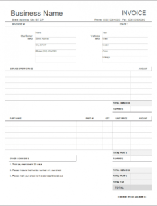 auto repair invoice template for excel auto mechanic invoice template