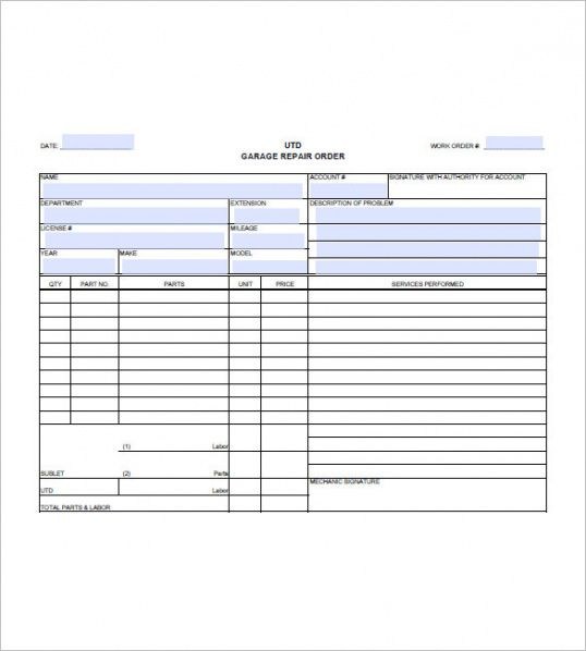 mechanic invoice template Auto Repair Invoice Templates – 12  Free Word, Excel, Pdf Format ...
