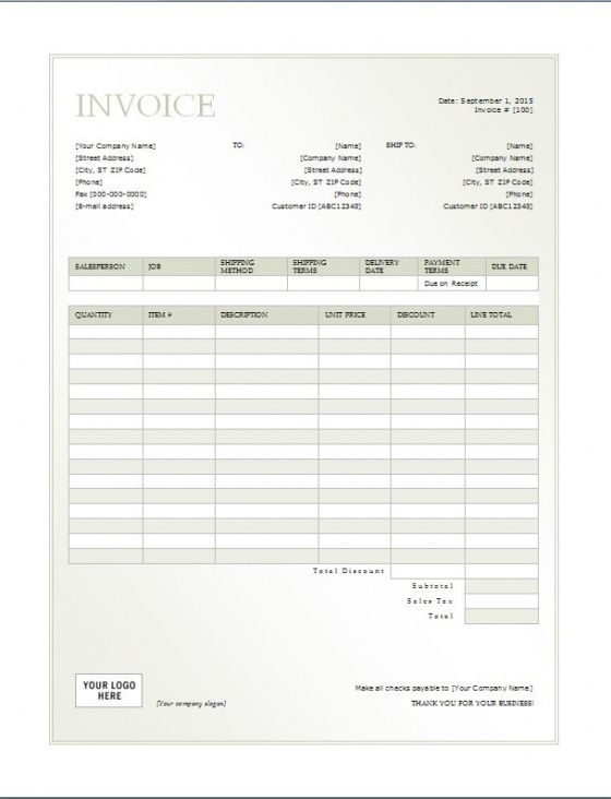 Cash Invoice Template – Printable Word, Excel Invoice Templates Cash ...