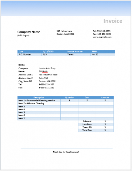 cleaning invoice template free invoice templates commercial