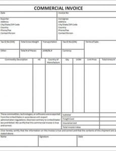 commercial invoice template free invoice sample template export export commercial invoice template