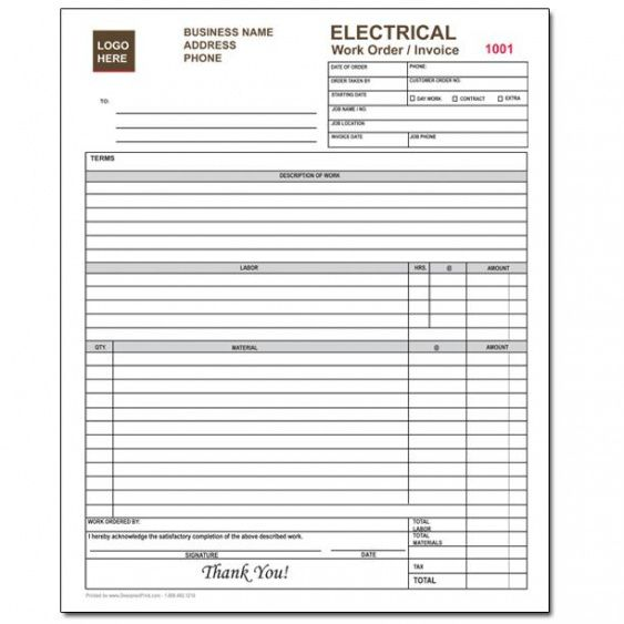 Electrical Contractor Forms Custom Carbonless Orders - Custom carbonless invoice forms