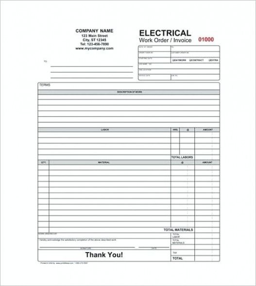 Electrical Contractor Receipt Free Service Invoice Template Format - Electrical contractor invoice template