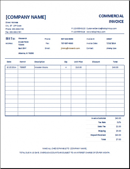 Export Commercial Invoice Template Customizable Commercial Invoice - Customizable invoice