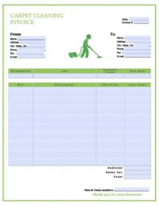 free carpet cleaning service invoice template | excel | pdf | word carpet cleaning invoice template