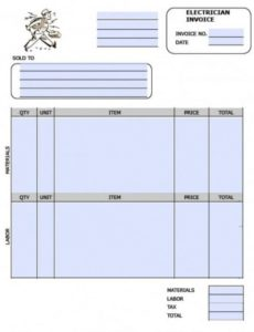 free electrician invoice template | excel | pdf | word (.doc) electrical contractor invoice template
