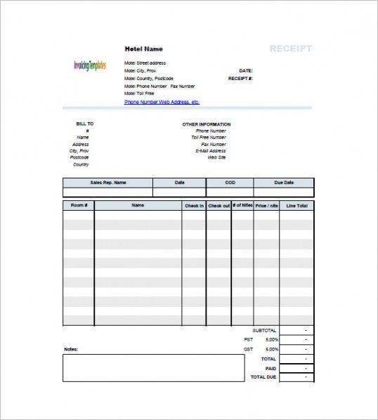 Hotel Invoice Template Free Sample Example Format Download - Hotel invoice format free download