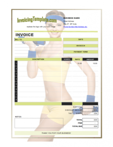 invoice design for personal trainer or fitness instructor fitness instructor invoice template