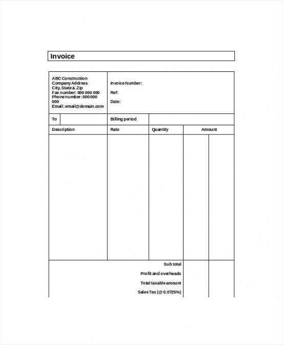 invoice for self employed template sample of invoice template for