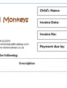 invoices & receipts - mindingkids childminder invoice template