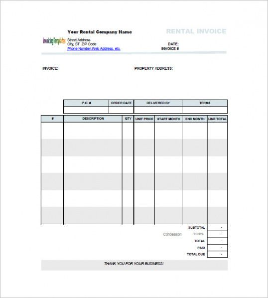 Lease Invoice Templates – 14+ Free Word, Excel, Pdf Format Download ...