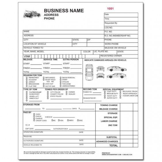 product details designsnprint tow truck receipt template   vb tow truck invoice template