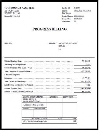 progress invoice template  Progress Invoice Template