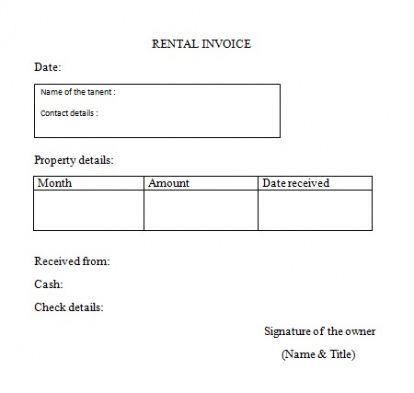 rent invoice form rent invoice format samples templates for free