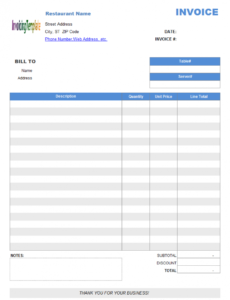 restaurant dining invoice template (no tax) self calculating invoice template