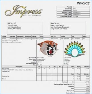 Screen Printing Invoice Horotaurus Embroidery Invoice Template - Personalized invoice template