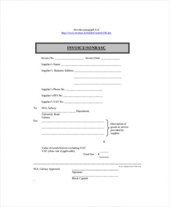 Self Employed Invoice Template 11 Free Word Excel Pdf Documents
