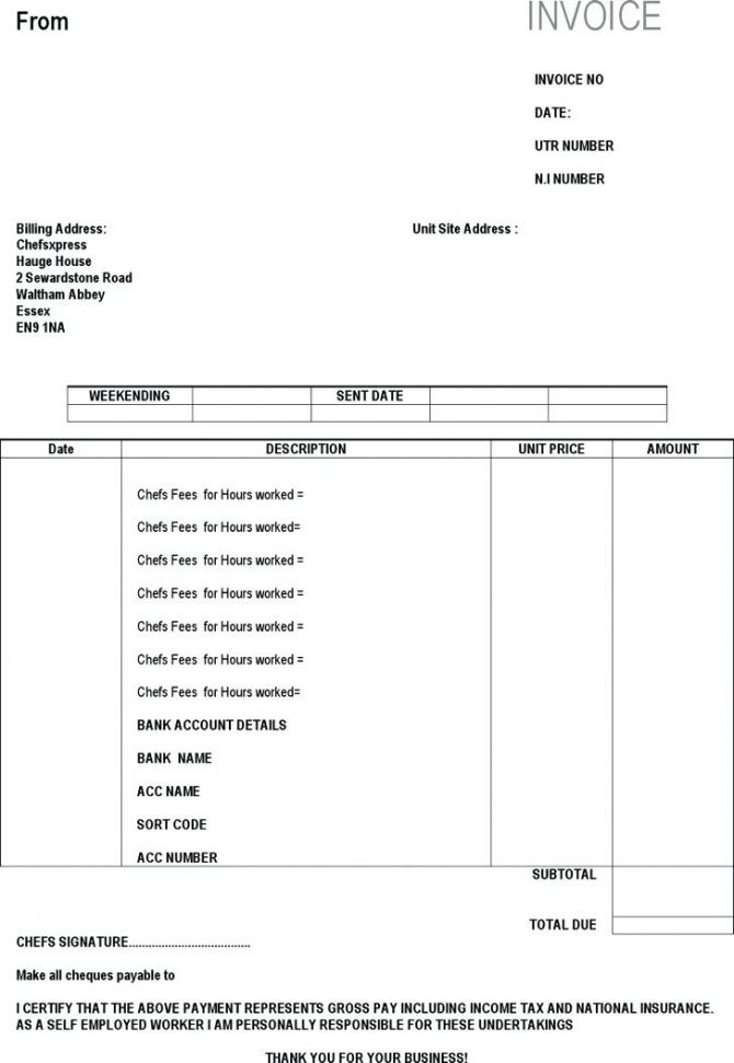 Self Employment Invoice Template Self Employed Chef Invoice Template - Self employed invoice template