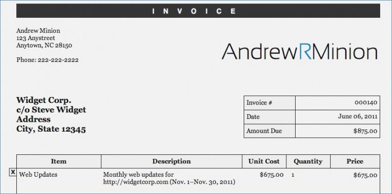 Sole Proprietor Invoice Horotaurus Template