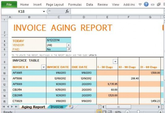 track accounts receivable with invoice aging report template for