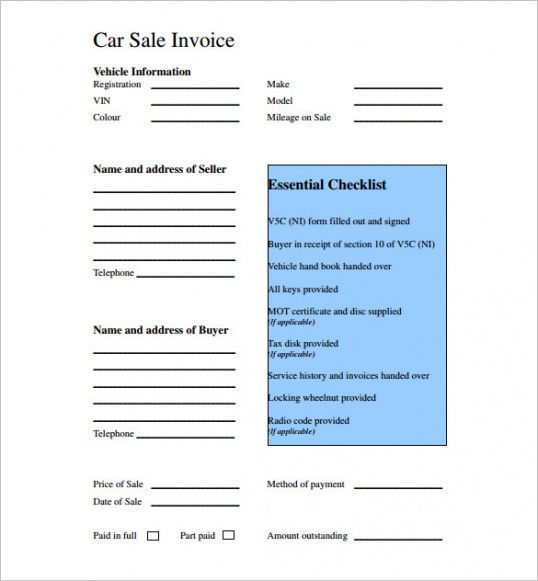 car sales invoice template  Used Car Sales Invoice Template Uk | Invoice Example Used Car ...