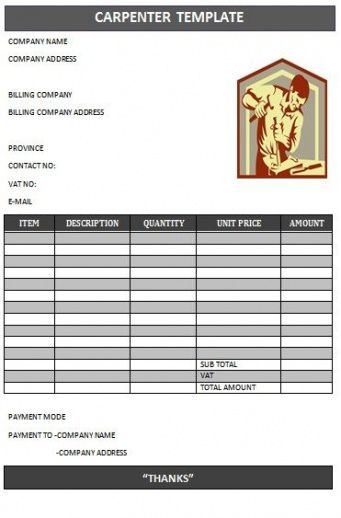 Best Carpenter Invoice Templates Images On Pinterest Invoice - Carpenter invoice template