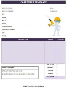 25 professional carpenter invoice templates - demplates joinery invoice template