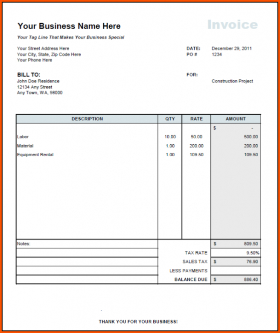 equipment rental invoice template  Equipment Invoice Template Guest House Invoice Template Excel Guest ...