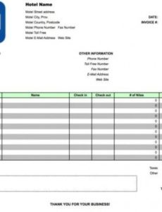 free hotel invoice template | excel | pdf | word (.doc) guest house invoice template