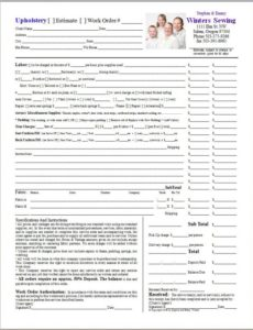 work orders in quickbooks | upholstery resource upholstery invoice template