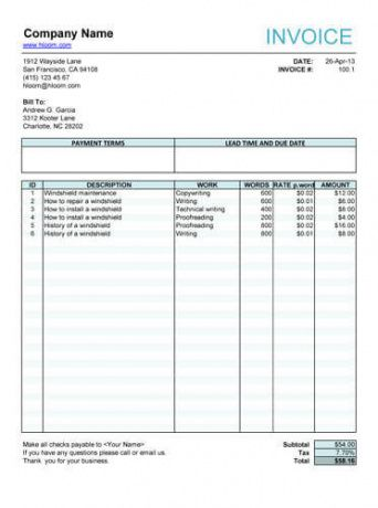 10 free freelance invoice templates [word / excel] film production invoice template