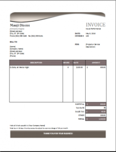 music performance invoice template for excel | excel invoice templates music production invoice template