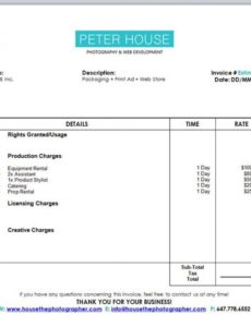 the guide to pricing commercial photography part 2: production costs post production invoice template