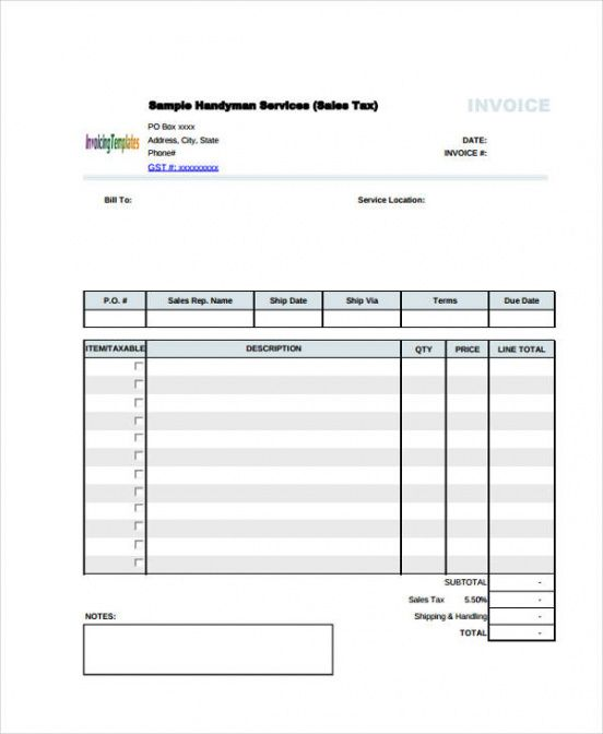 6 handyman invoice template - free sample, example format download handyman invoice template