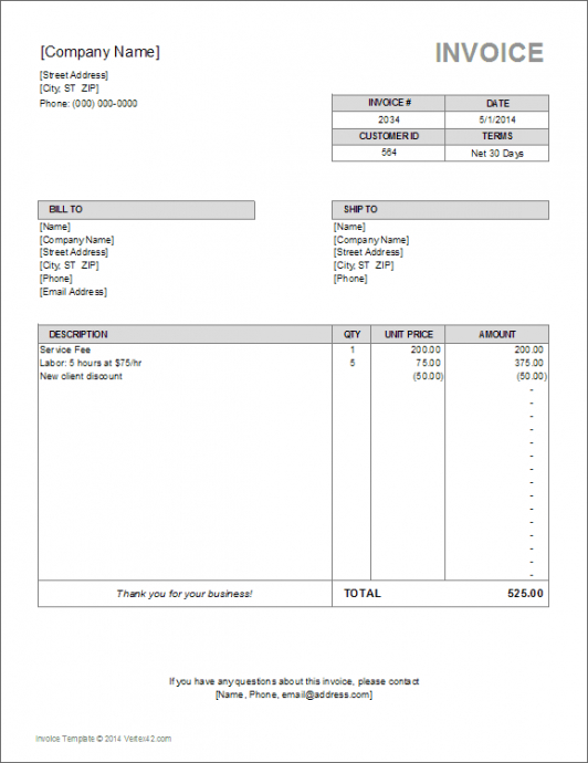 billing invoice template for excel paid in full invoice template