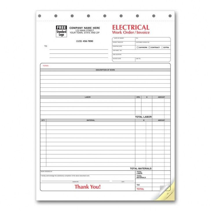 electrical contractor forms - custom carbonless orders | designsnprint electrical work order invoice template