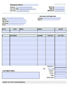 free auto (body) repair invoice template | excel | pdf | word (.doc) auto body shop invoice template