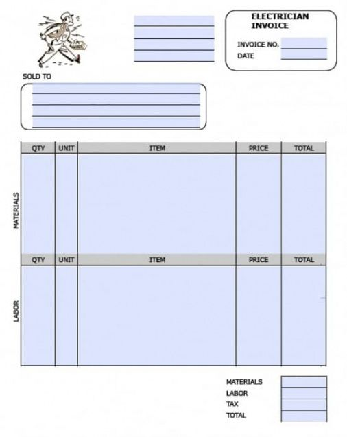 free electrician invoice template   excel   pdf   word (.doc) electrical work order invoice template