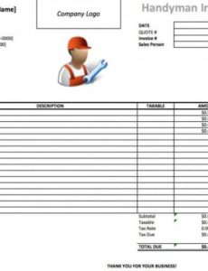 free handyman invoice template | excel | pdf | word (.doc) handyman invoice template