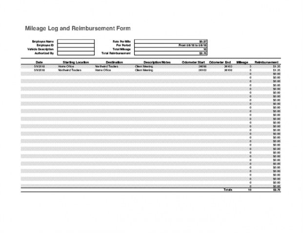 mileage log and expense report mileage invoice template