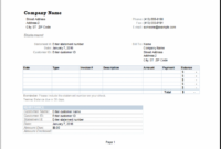 Ms Excel Billing Statement Editable Printable Template | Excel Templates Balance Due Invoice Template