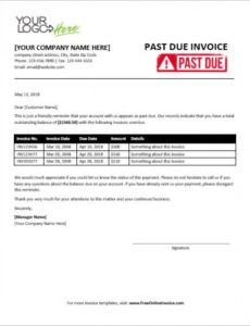 past due invoice with professional contents past due invoice template