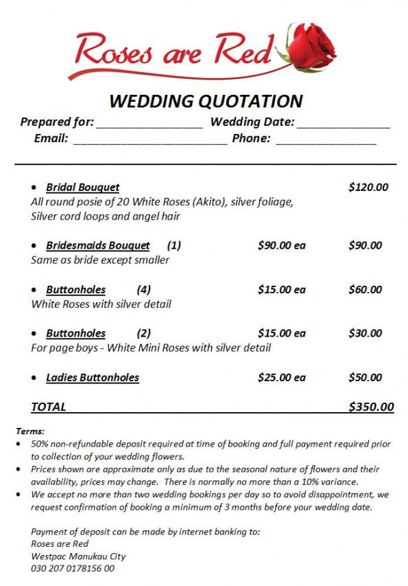 wedding quote example wedding flower invoice template
