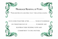 A Simple Green Frame Of Free Printable Wedding Vows Renewal Renewal Of Marriage Vows Certificate Template Sample Blank
