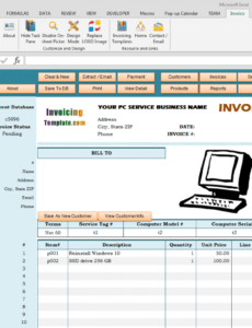 bill format for computer repair service computer repair service invoice template doc blank