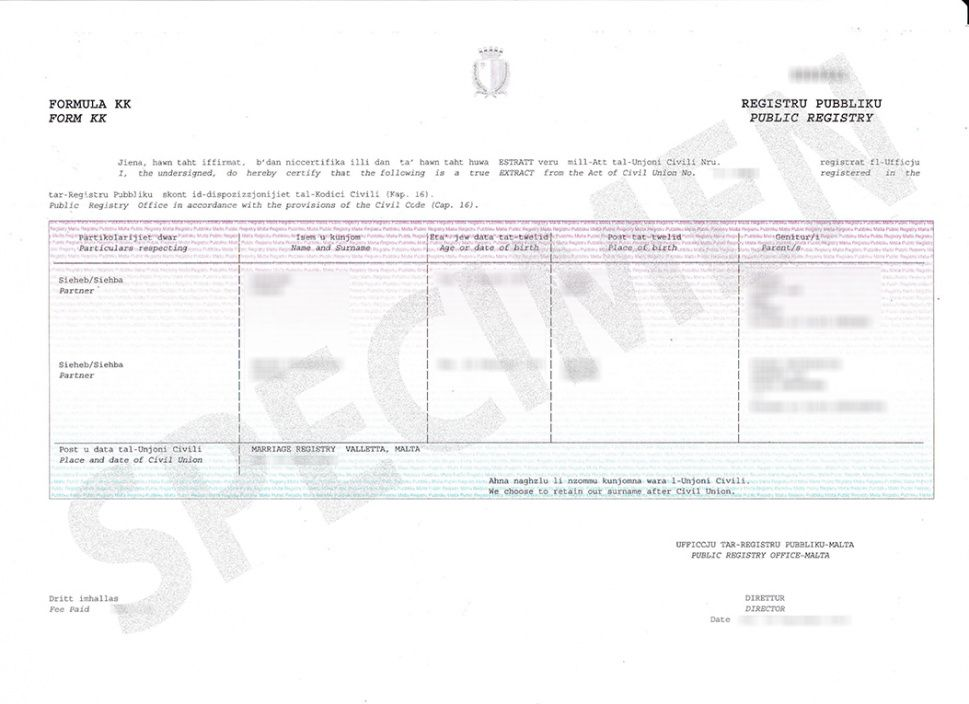 ċertifikati.gov.mt - certificate samples civil union certificate template doc blank
