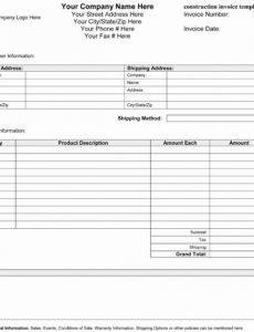 construction company invoice template downloads – wfac.ca construction company invoice template doc blank