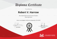 Diploma Certificate Of Completion Design Template In Psd, Word College Diploma Certificate Template PDF Blank